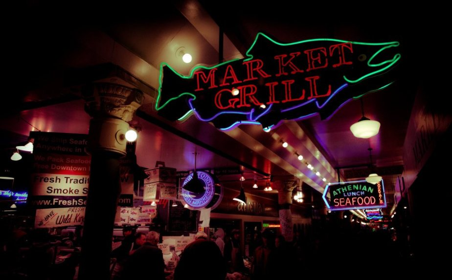Pike Place Market - Neon Signs, Seattle, Washington