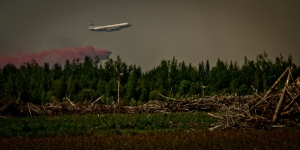 Air Tanker Water Bombing 7 - Wilson Prairie Fire, La Crete, Alberta