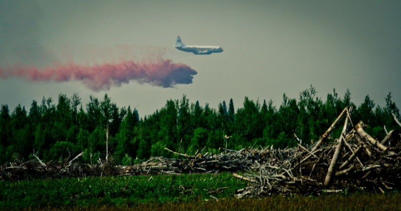 Air Tanker Water Bombing 17 - Wilson Prairie Fire, La Crete, Alberta