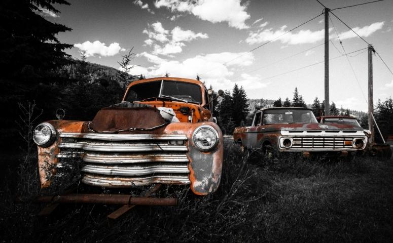 Paired FOMOCO Trucks - Vavenby, British Columbia