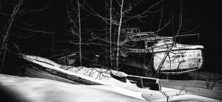 Boats in Woods - Hay River 2