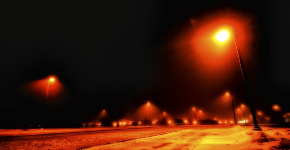 19 Bus Lanes at Night - High Level, Alberta