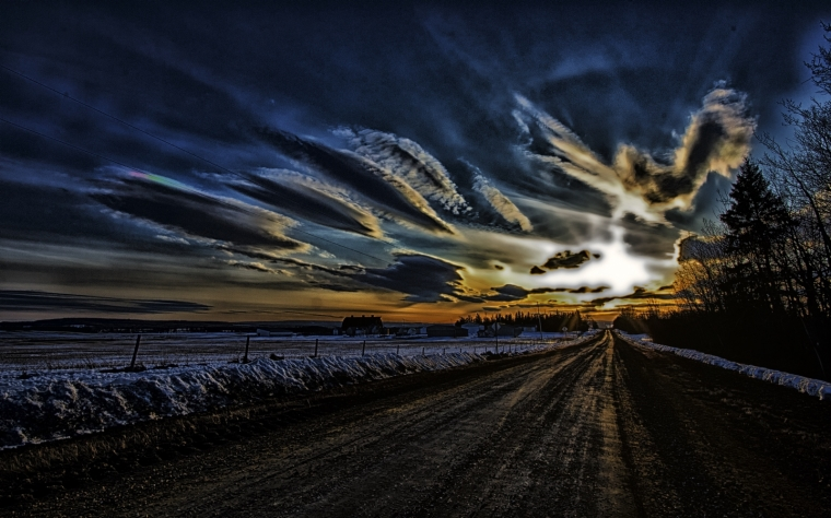 Country Road Sunset - Mayerthorpe, Alberta