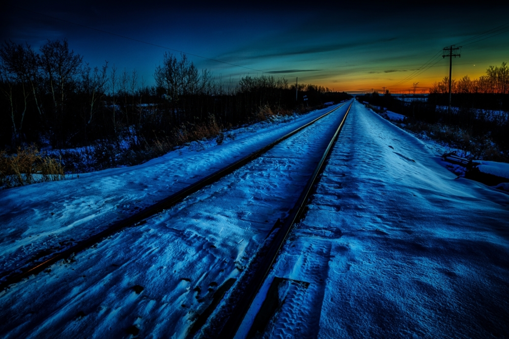 Winter Rails at Sunset - Rycroft, Alberta