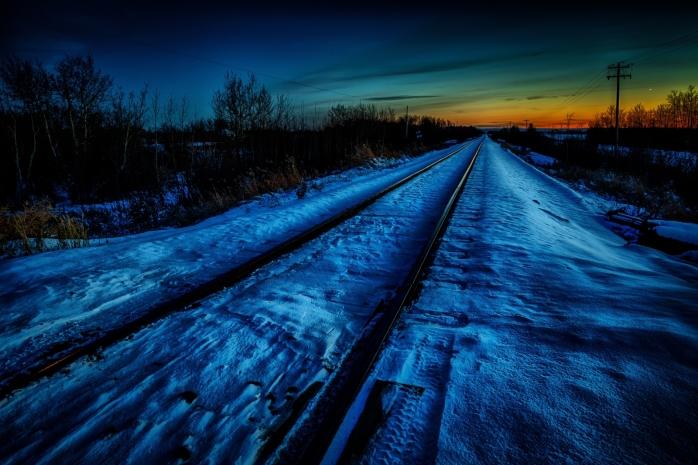 Winter Rails at Sunset - Rycroft, Alberta