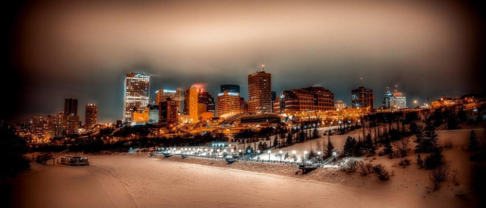 Downtown Edmonton from Cloverdale Walkway Bridge - Edmonton, Alberta 2