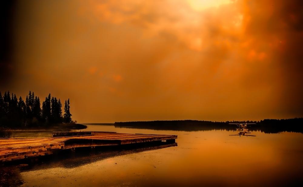 Anchored Float Plane - Footner Lake, Alberta - Canada