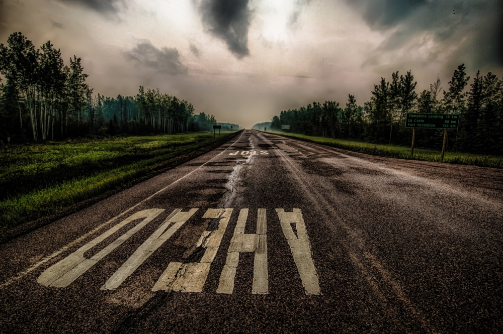 Stop Ahead Turnoff - NW Alberta