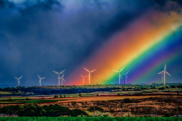 Wind Turbines and Rainbow - Oahu 3