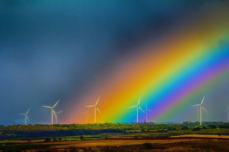 Wind Turbines and Rainbow - Oahu 4