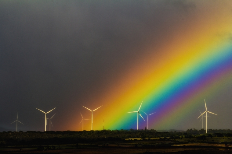 Wind Turbines and Rainbow - Oahu 5