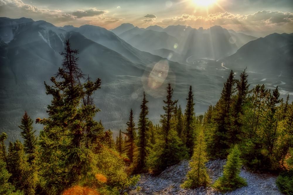 Sulfur Mountain looking West - Banff, Alberta - Canada